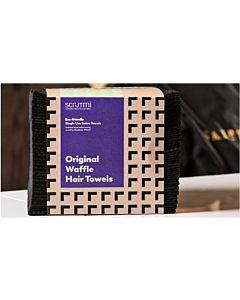 Scrummi De Luxe Waffle Black Hair Towels 80x40cm 500 stuks